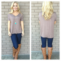 Mocha Basic Short Sleeve Modal Top