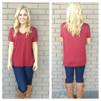 Burgundy Basic Short Sleeve Modal Top