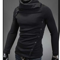 Men Thicken Fashion Slim Fit Unique Design Button Turtleneck Casual Sweater MY07