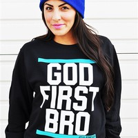 God First Bro-Black White/Teal