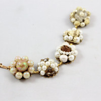Ivory bridal earring bracelet cream tan gold clusters vtg retro glam Great Gatsby style pearls glass crystals wedding bridesmaid repurposed