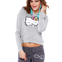 SMILE KITTY GRAPHIC HOODED TOP