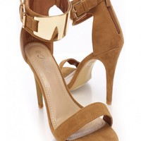 Tan Faux Suede Wide Ankle Strap Single Sole Heels