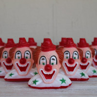 Vintage Plastic Clown Set, Halloween, Creepy