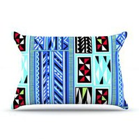 KESS InHouse American Blanket Pattern Fleece Pillow Case