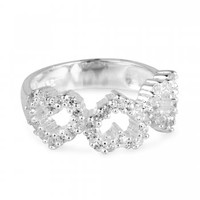 Simply Silver Triple cubic zirconia heart sterling silver ring - Simply Silver from Jon Richard UK