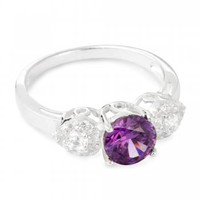 Simply Silver Purple crystal triple cluster sterling silver ring - Simply Silver from Jon Richard UK