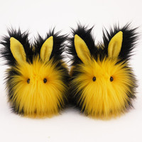 Bumble Black and Yellow Bunny Rabbit Stuffed Animal Plush Toy -5x8 Inches Medium Size