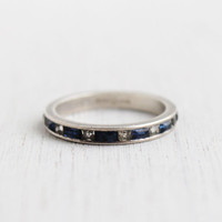 Vintage Sterling Silver Sapphire Blue Eternity Ring - Size 6 1/2 Art Deco 1930s Channel Stacking Jewelry / Blue & Clear Glass