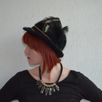 Vintage Black Bowler Hat // Brown & Black Tassels // Feathers