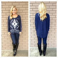 Navy & White Aztec Slit Back Knit Sweater
