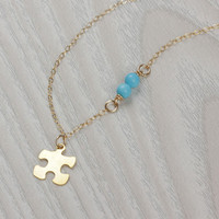 "Puzzle piece necklace, puzzle necklace, turquoise and gold necklace, gold puzzle piece necklace, turquoise jewelry, love necklace, ""Pasithea"