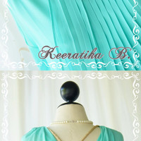 Keeratika B - Formal Maxi Dress Floor Length Mint Blue Dress Pleated Skirt Sexy Deep Back Dress Cocktail Dress Prom Dress Party Dress