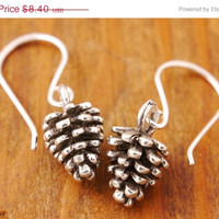 SALE - Pine Cone Earrings - holiday earring, christmas earring, nature jewelry, charm earring, holiday sale, clearance