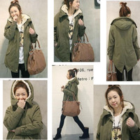 Womens Thicken Fleece Warm Winter Coat Zip Hooded Parka Overcoat Long Jacket PHD