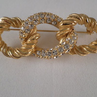 Christian Dior signed Goldtone Brooch With Austrian Crystals From The 1940's or 50's