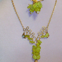 "ON SALE Necklace ""Grapes on the Vine"" WireWrap Pendant - Matching Earrings"
