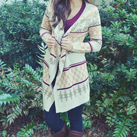 Wildfire Cardigan: Tan/Red/Orange