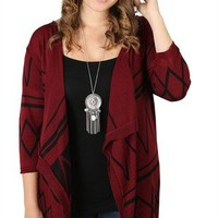 Plus Size Aztec Print Waterfall Cozy with Three-Quarter Sleeves