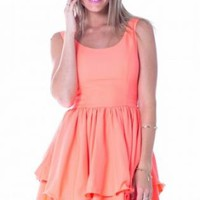 Neon Coral Sleeveless Layered Skirt Dress