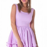 Lilac Sleeveless Layered Skirt Dress