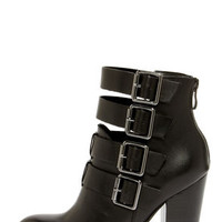Chinese Laundry Gadget Black Leather Buckled High Heel Booties