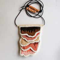 Embroidered pendant necklace in browns dusky pink tan on long brown leather cord with glass bead accents