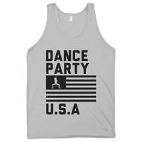 Dance Party USA, American Tank Top, Dance Shirt, Twerking, Hipster Fashion, American Apparel.