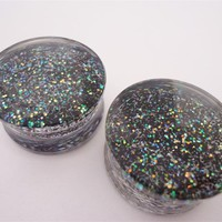 Black Sparkle Plugs (2 gauge - 1 inch)