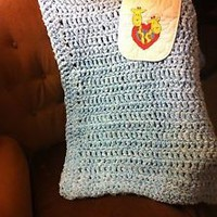 Handmade Blue Baby Blanket and giraffe Bib 2
