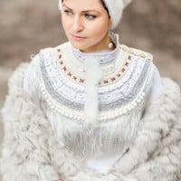 Bohemian Bridal Necklace,White Fringe Collar,Handmade Wedding Jewelry
