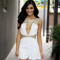 White & Gold Sequin Cutout Plunge Neckline Playsuit