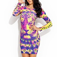 Jammin-Tribal-Tiger-Dress YELLOWPINK - GoJane.com