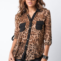Leopard Cut Out Back Top