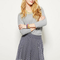 Skater Skirt in Navy Zigzag