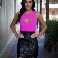 Hot Pink Cutout Bodice & Black Sequin Scalloped Hem Dress