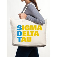 Sigma Delta Tau Canvas Tote Bag - Stacked