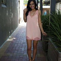 Peach V-Neck Playsuit with Lace Trim Detail