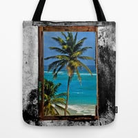 WINDOW ON PARADISE Tote Bag by catspaws