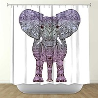 * AZTEC PURPLE ELEPHANT * Shower Curtain Artistic Designer from DiaNoche Designs by Arist Monika Strigel Home Décor and Bathroom Ideas -