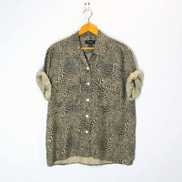 80s SILK leopard blouse camp shirt slouchy plus size xl