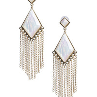 Diamond Facet and Fringe Earring - WetSeal