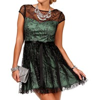 Promo-Maisie-Black/Seafoam Homecoming Dress
