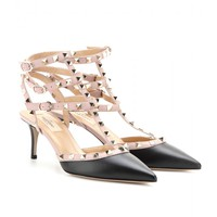 ROCKSTUD LEATHER KITTEN-HEEL PUMPS