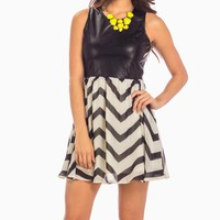 Black & White Chevron Dress with Faux Leather Bodice