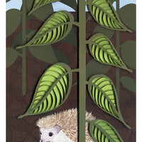 Woodland animals poster set, hand drawn / paper quilling / cut paper, fox and hedgehog poster, Fox and hedgehog paper art print