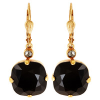 Round Crystal Earrings, BlackLA VIE PARISIENNE
