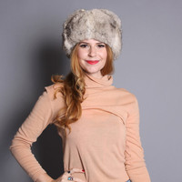 80s Rabbit FUR HAT/ Fluffy Warm Ear Flap Trapper Hat