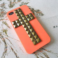 Beautiful orange iPhone 4,4S hard case cover with cross bronze pyramid stud for apple iPhone 4 Case, iPhone 4S hand Case -012