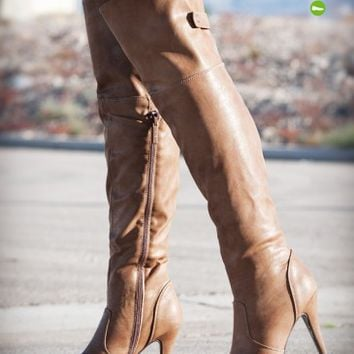 DbDk Salti-1 Over The Knee Platform Boot (Taupe) - Shoes 4 U Las Vegas
